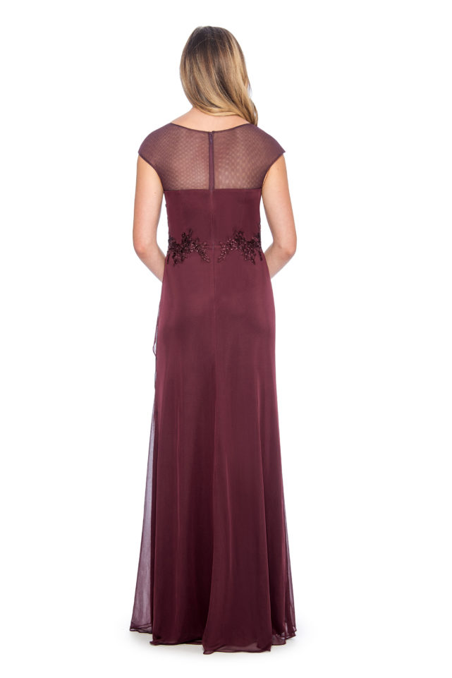 Lace applique top overlay cascade long gown - formal evening dress - mother of bride dress - plus size dress