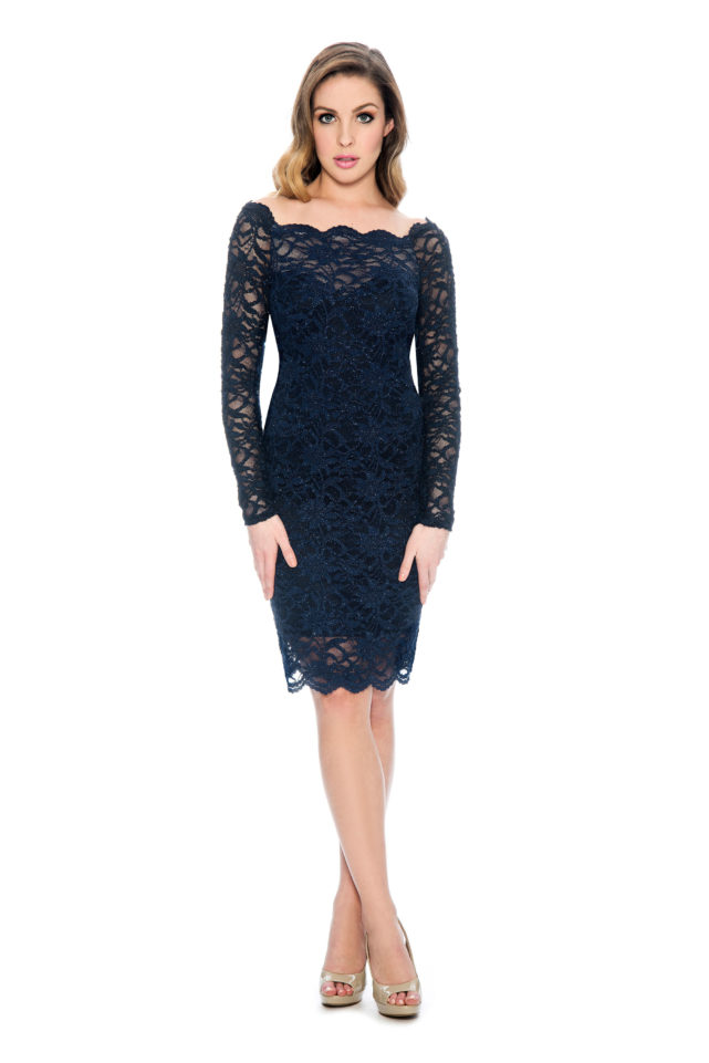 Lace long sleeve short dress - mother of bride dress - night out dress - plus size - short cocktail dress - wedding guest dress