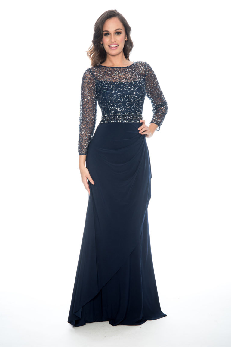 08c8fb0676 Lace sequin top over lay cascade skirt - formal evening dress - mother of  bride dress