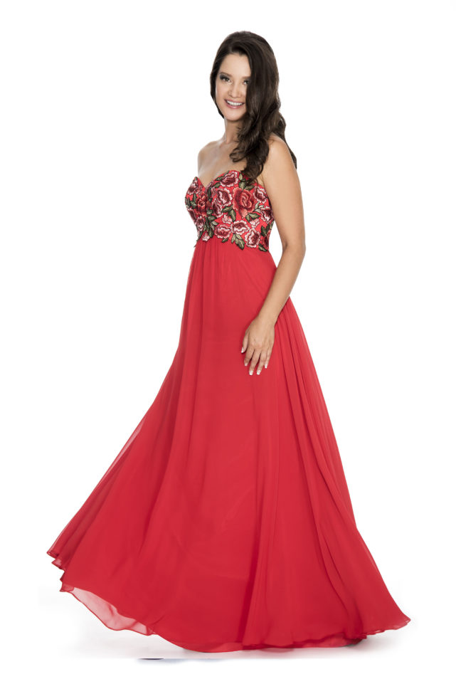Strapless flowy floral appliqué top long gown - prom dress - homecoming dress - plus size dress