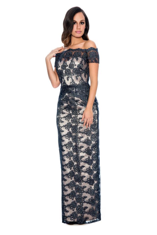 Off the shoulder lace pelpum long gown - bridesmaid dress - formal evening dress - mother of bride dress