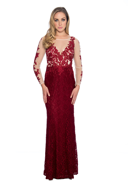 c71ce9b92a Lace applique long gown - formal evening dress - mother of bride dress - wedding  guest