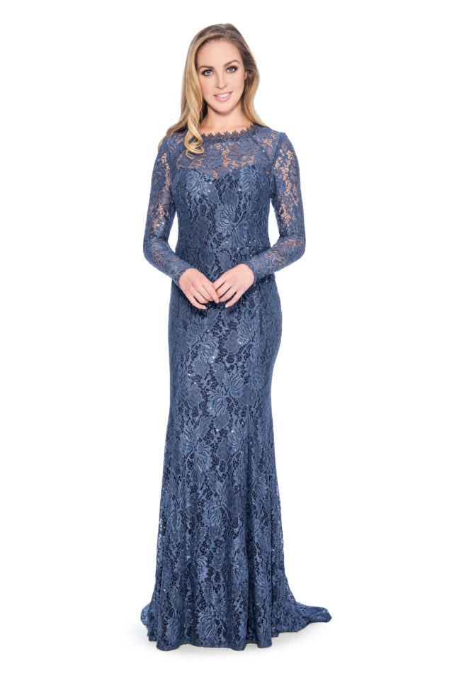 Lace long sleeve long gown - formal evening dress - mother of bride dress