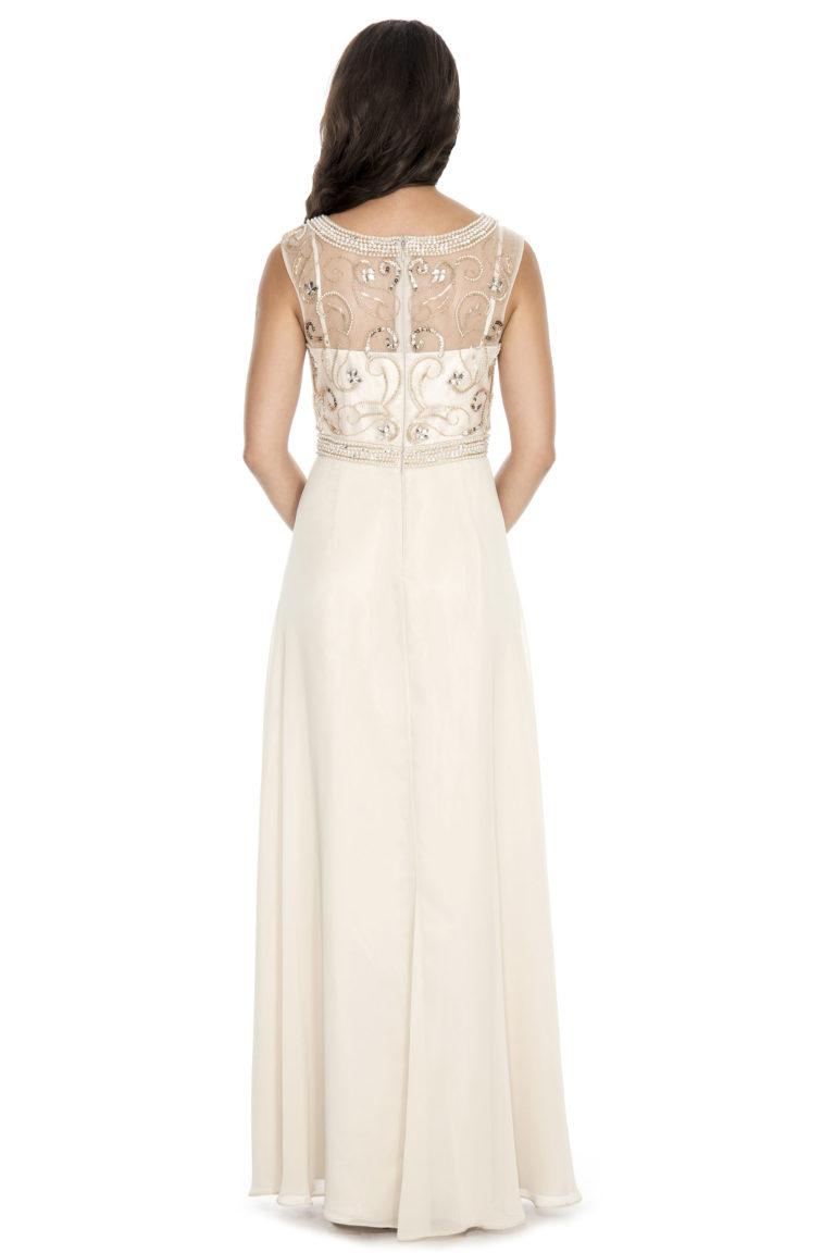 Beaded bodice flowy long gown - bridesmaid dress - mother of bride dress - wedding guest dress - formal evening dress