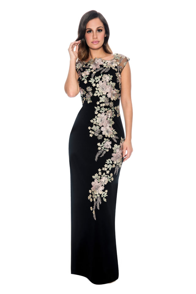 Floral embroidery long gown - bridesmaid dress - formal evening dress - mother of bride dress-