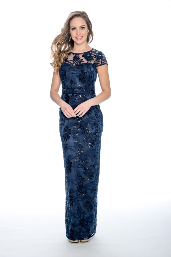 embroidery, sequin, tight long dress