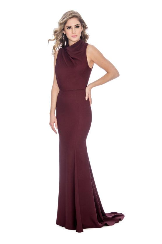 High neck, cowl neck, long dress