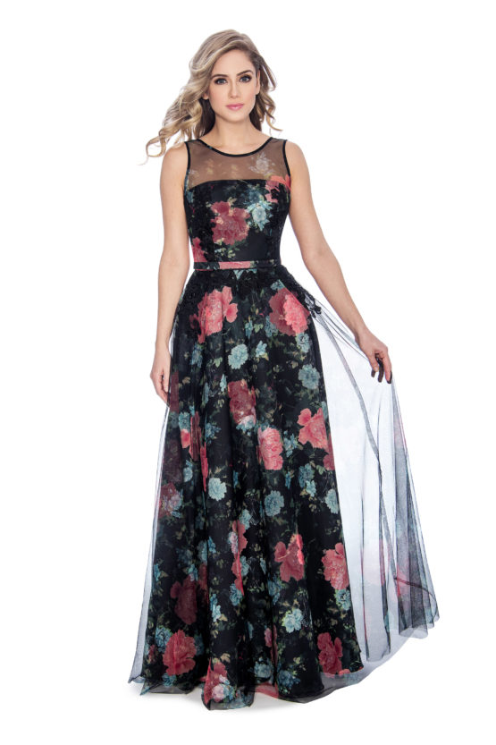 Floral print, ballgown, long dress