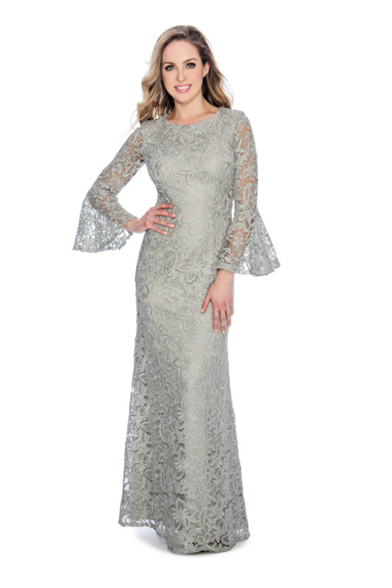 lace, bell sleeve, long dress