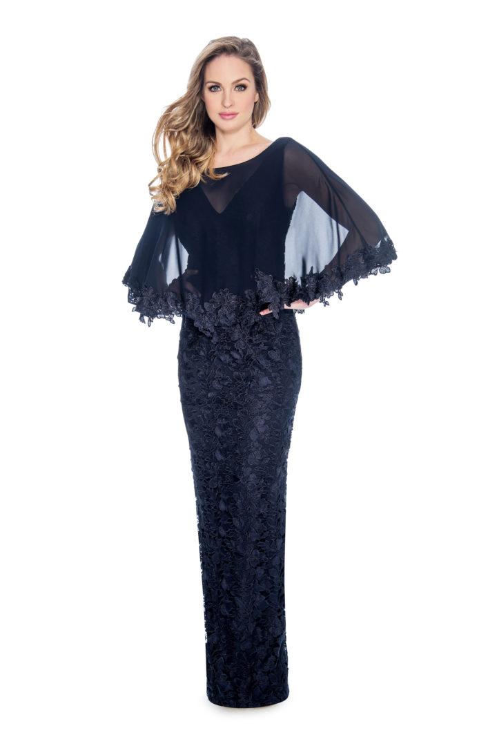 cap overlay, lace, long dress