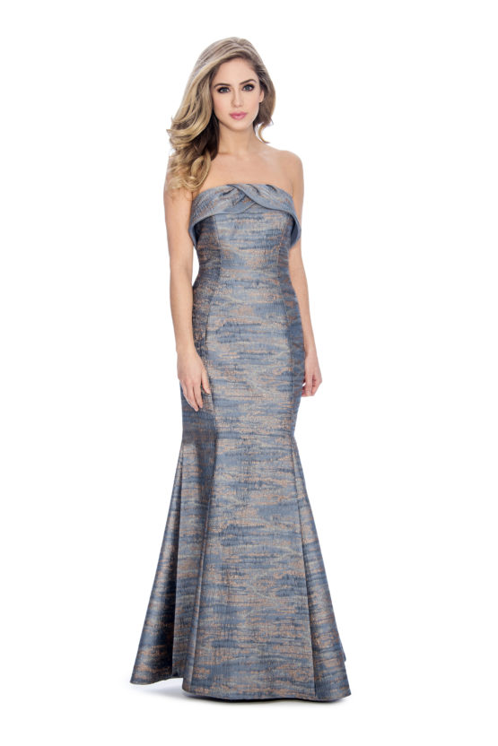 Strapless, brocade print, long dress