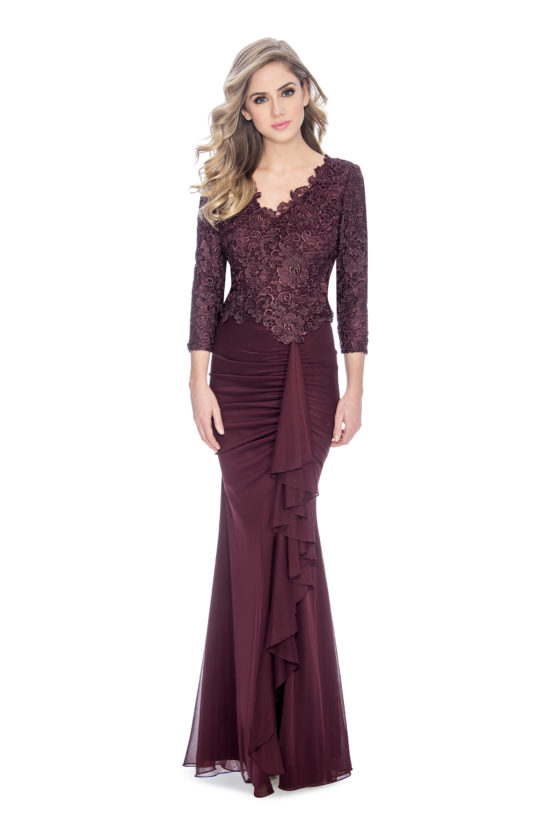 Lace top, fit and flare skirt, long dress