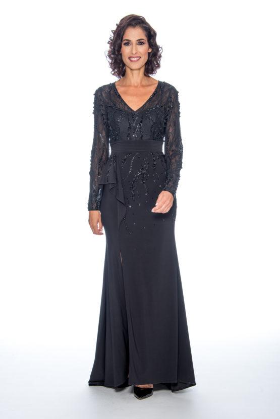 Beaded top, ruffle skirt, long dress